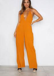 wide leg jumpsuit orange halterneck wide leg jumpsuit empire