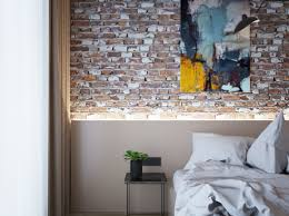 Yellow Feature Wall Bedroom Exposed Brick Feature Wall Is Major Highlight In This Countryhouse