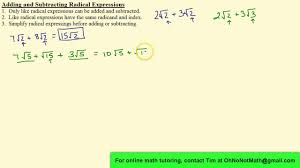 adding and subtracting radical expressions youtube
