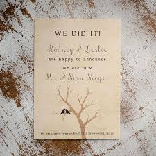 elopement announcements rustic wedding announcement wedding announcements the lovebird