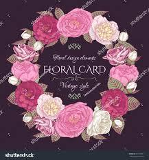 floral frame roses peonies vintage card stock vector 321263921