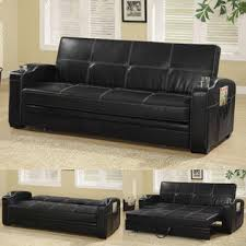 coaster faux soft leather sofa bed sleeper lounger with storage