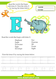 kids under 7 alphabet worksheets trace and print letter e