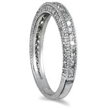 10k white gold wedding band 3 4 carat antique style diamond wedding band in 10k white gold