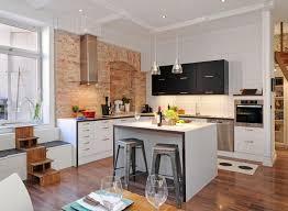 brick kitchen ideas modern white kitchen ideas with brick wall and brown floor 6245