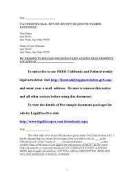 Certification Letter Ownership Sample sample mechanics lien release demand letter for california