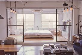 modern white nuance of the interior bedroom of the loft bauhaus