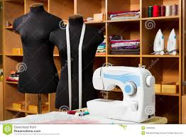 fashion designer studio with dressmakers equipment royalty free