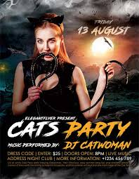 cats party club free flyer template http freepsdflyer com cats