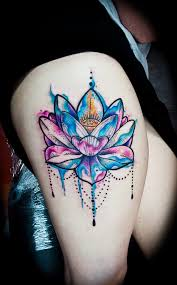 watercolor lotus flower on thigh best design ideas