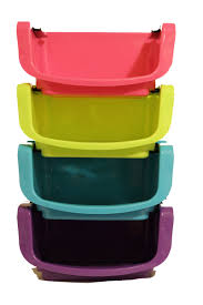 ybm home plastic brightly colored stackable storage basket