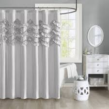 Ruffled Shower Curtains Linen Ruffle Shower Curtain Wayfair