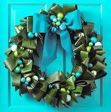 Blue Decorated Christmas Wreaths by Colorful Blue Christmas Wreath For Doors Decor