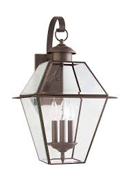 colonial style outdoor lighting 8058 71 three light outdoor wall lantern antique bronze