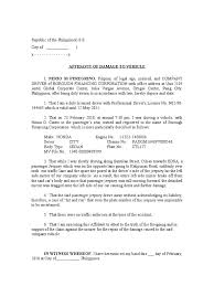 car damage report template affidavit of damage to vehicle