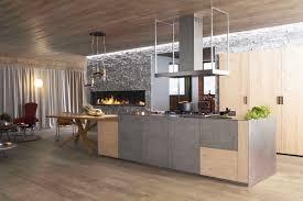 perene cuisines cuisine l510 laque béton gris armoires open line placage chêne à