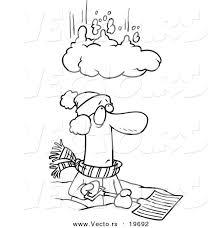 vector of a cartoon pile of snow falling on a man outlined