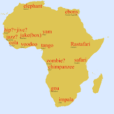 Ancient Map Of Africa by Map Of Some English Words From African Languages Maps Of Africa