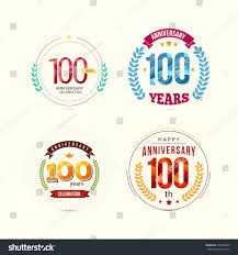 100 years anniversary set low poly stock vector 428399095