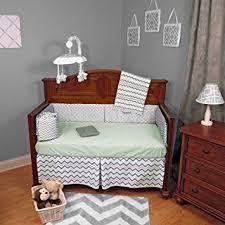 Baby Coverlet Sets Amazon Com Chevron Zig Zag Green And Gray 5 Piece Baby Crib