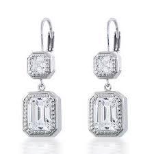 Art Deco Style Art Deco Style Emerald Cut Cz Dangle Earrings Gatsby Inspired