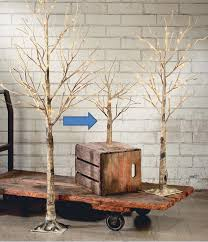 display tree small lighted brown birch set of 3 4 or 5