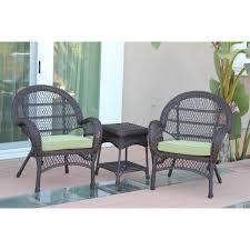 Wicker Chair Santa Maria Espresso Wicker Chair And End Table Set Green Cushions