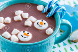 snowman marshmallows blue mug filled with hot chocolate with snowman marshmallows