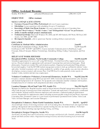 Resume Template For Medical Receptionist Office Resume Sample Good Resume Format