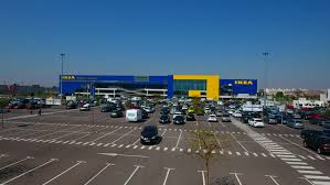 ikea parking lot valencia spain may 05 2017 aerial view over the ikea retail