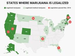Map Of Us Without Names 7 States That Legalized Marijuana On Election Day Business Insider