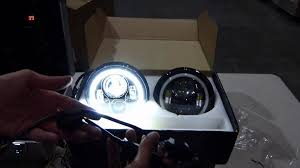 genssi 7 inch round led headlight with halo angle eyes h6024 youtube