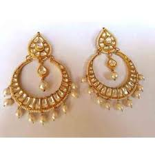 chandbali earrings chand bali earrings polki in gold plated kundan at rs