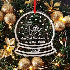 Personalised Snow Globes Tree Decorations Personalised My 1st Christmas Sleigh Wood Tree Decoration By Truly