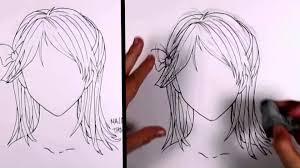 how to draw manga hair shoulder length hair ponytail