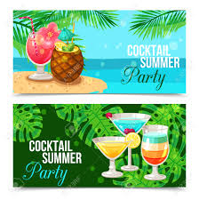 horizontal banners presenting cocktail summer party different