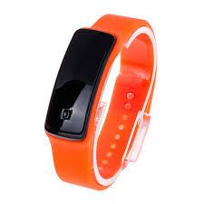 bracelet watches led images Unisex fashion sports rubber band led digital wrist watch orange jpg