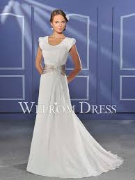 scoop short sleeve chiffon ivory belt beading wrap a line wedding