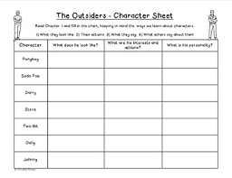 the outsiders character analysis by addie williams tpt