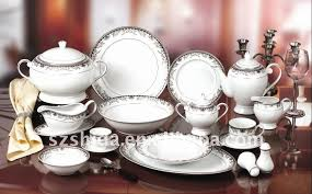 132pcs porcelain dinner set with silver design buy