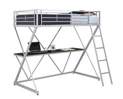Metal Bunk Bed With Desk Dhp Furniture X Loft Bunk Bed Silver