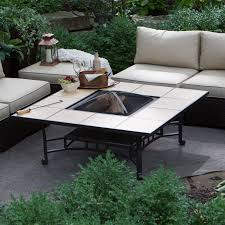 Patio Table With Firepit Ember Wheatland 50 In Outdoor Square Tile Convertible