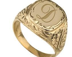 Monogram Signet Rings Monogram Signet Ring Personalized Signet Ring Mens Signet Ring