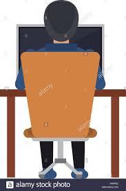 Laptop Chair Desk Back Working Laptop Chair Desk Stock Vector Illustration