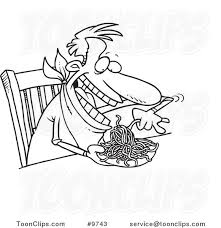cartoon black and white line drawing of a guy eating spaghetti at