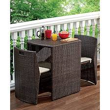 Small Patio Dining Sets 3 Steel Wicker Outdoor Dining Set In Bronze Finish Bed