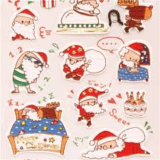 cute santa claus reindeer snowman metallic stickers japan