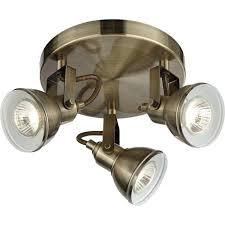 Brass Ceiling Lighting Searchlight Lighting Focus 3 Light Spotlight Fixture In Antique