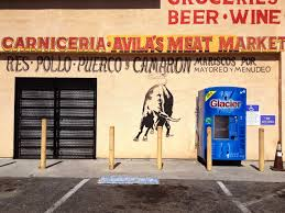 elevation of coral ct manteca ca usa maplogs mexican grocery store butcher shop handpainted sign signpainter building wall painted art letters lettering bull artwork