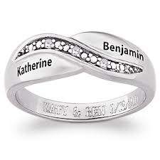 silver name rings sterling silver couples diamond promise name ring 38138